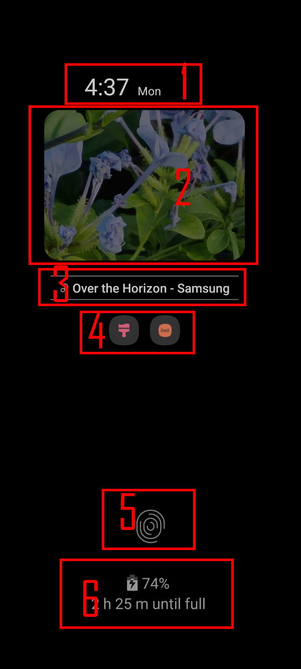 Understand the components of Galaxy S20 always-on display (AOD)