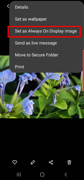 pin images to Galaxy S20 always-on display screen
