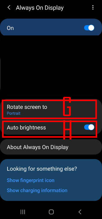 Galaxy S20 always-on display settings