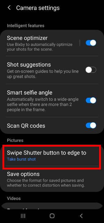 Galaxy S20 camera settings