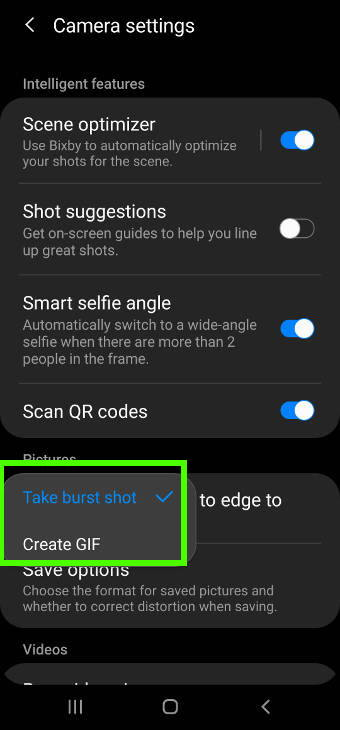 enable and disable Galaxy S20 burst mode
