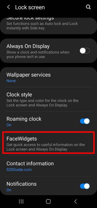 Galaxy S20 lock screen settings