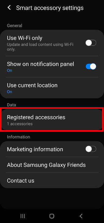 Change settings for Galaxy Friends for Galaxy S20 LED cover