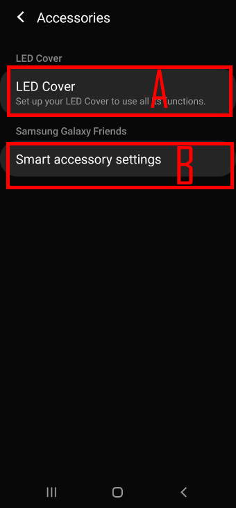 Change settings for Galaxy S20 LED back cover