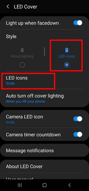 Show LED icons on Gala;xy S20 LED back cover