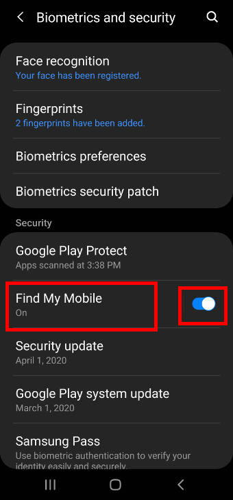 enable Find My Mobile and Remote Unlock on Galaxy S20