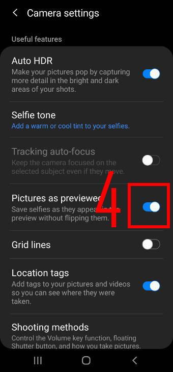 avoid mirrored photos (selfies) on Galaxy S20