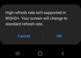 set Galaxy S20 display refresh rate
