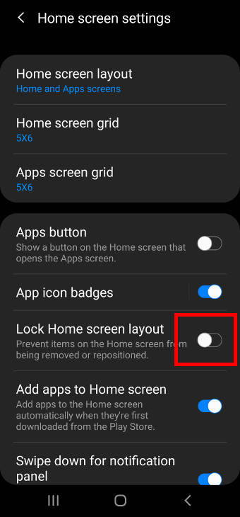 lock the Galaxy S20 home screen layout