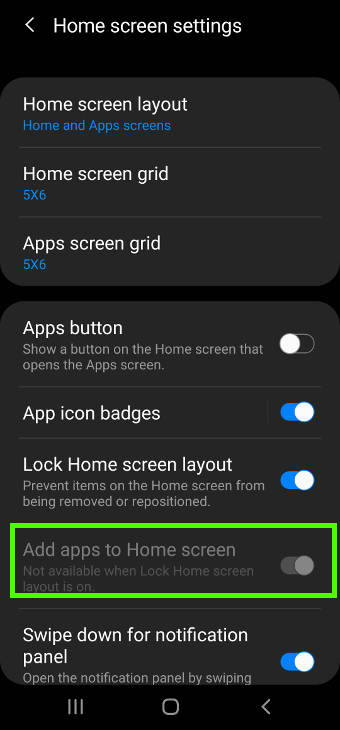 Galaxy S20 home screen layout locked