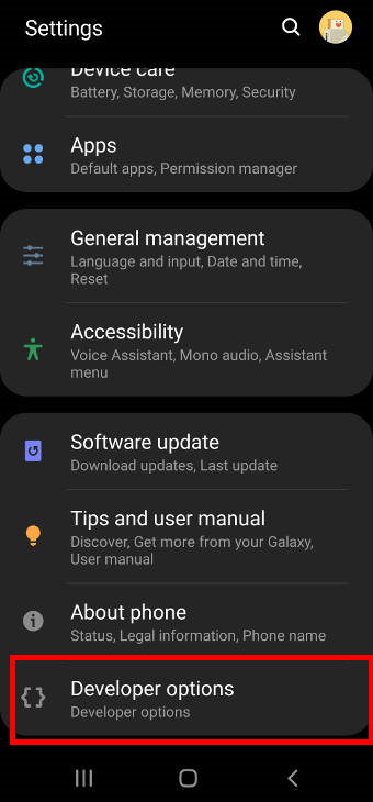 access Galaxy S20 developer options