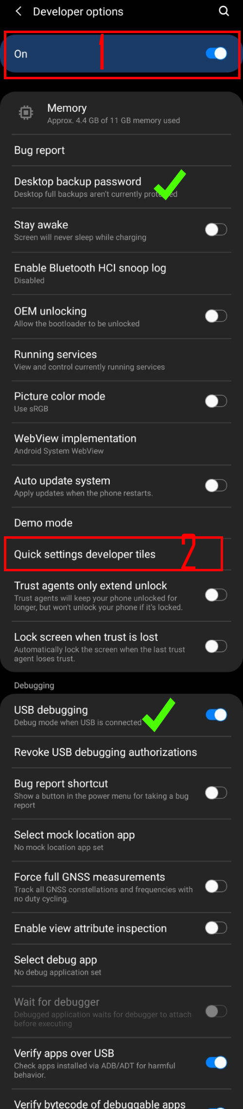 complete list of Galaxy S20 developer options (Android 10) part 1/4
