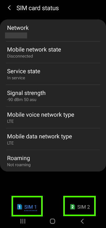 check mobile network status from SIM card status