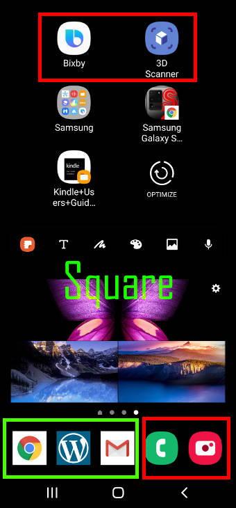 square icon shape on Samsung Galaxy S20
