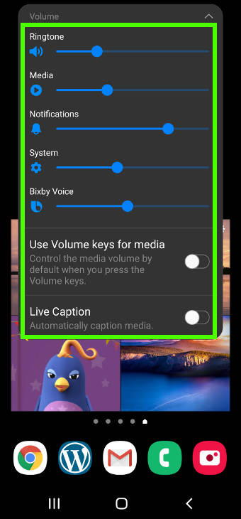 expand volume slider on Galaxy S20