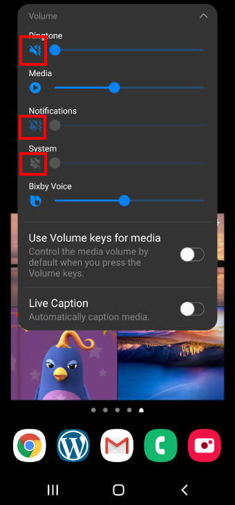 Galaxy S20 volume slider to adjust volumefor media, ringtones, notifications and alarm tones