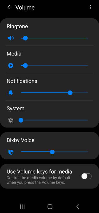 Use Galaxy S20 Settings to adjust volume and set sound mode