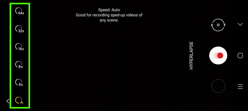 Hyperlapse mode, time-lapse speed