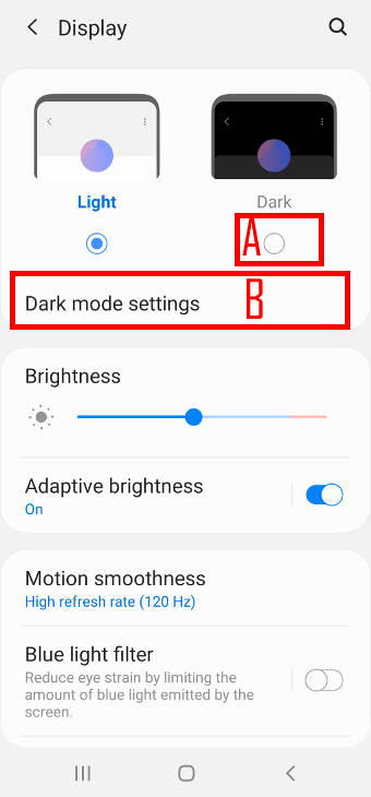 enable Galaxy S20 dark mode in Setttings