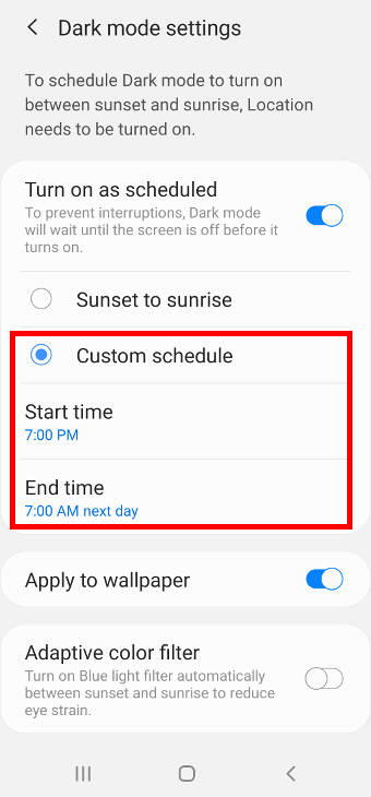 customize and schedule the Galaxy S20 dark mode