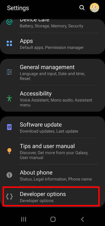 Galaxy S20 settings with developer options