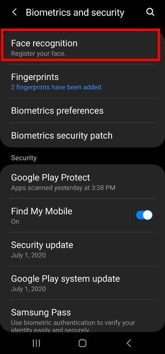 biometrics and security settings