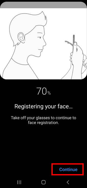 register facial features for Galaxy S20 face recognition