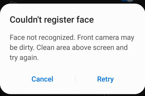 fail to register face