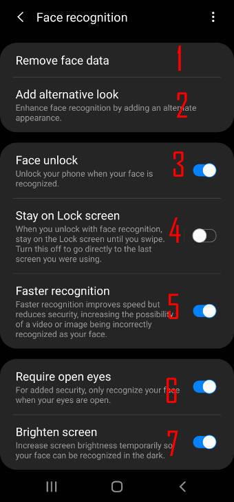customize Galaxy S20 face unlock