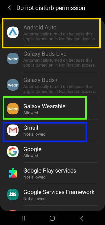 manage Do Not Disturb permissison on Samsung Galaxy S20