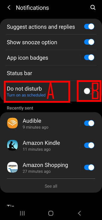 enable or disable do not disturb from Galaxy S20 settings