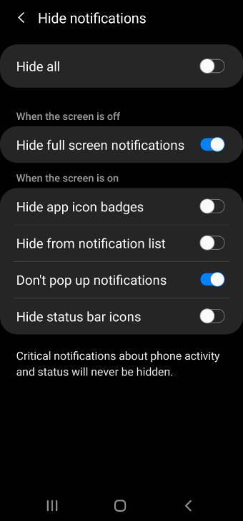 hide notifications in DND mode