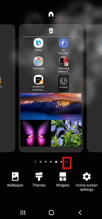galaxy S20 home screen edit mode