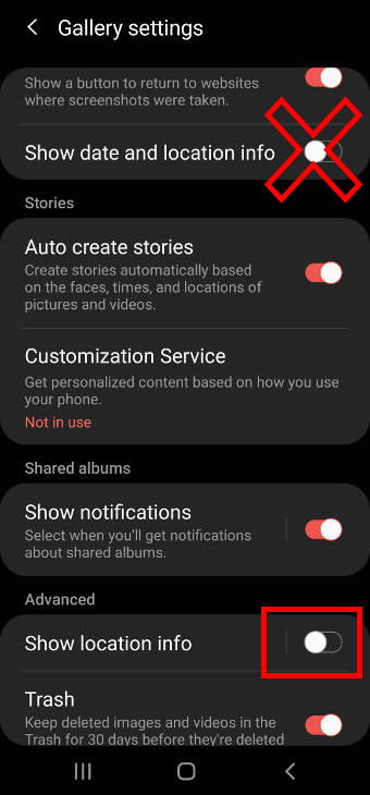 hide location info when sharing photos on Galaxy S20: using Samsung Gallery app