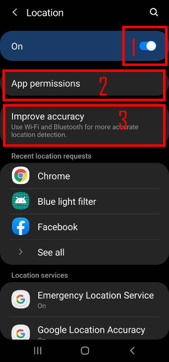 Galaxy S20 location service manager