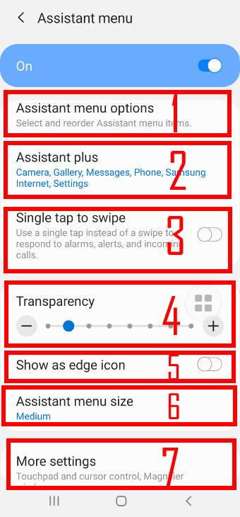 customize Samsung Galaxy S20 Assistant Menu