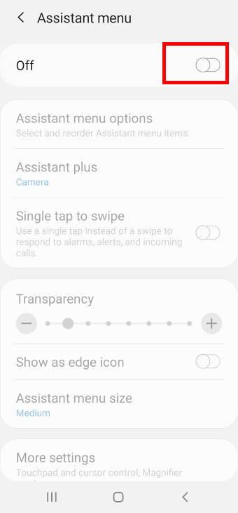 Galaxy S20 assistant menu settings