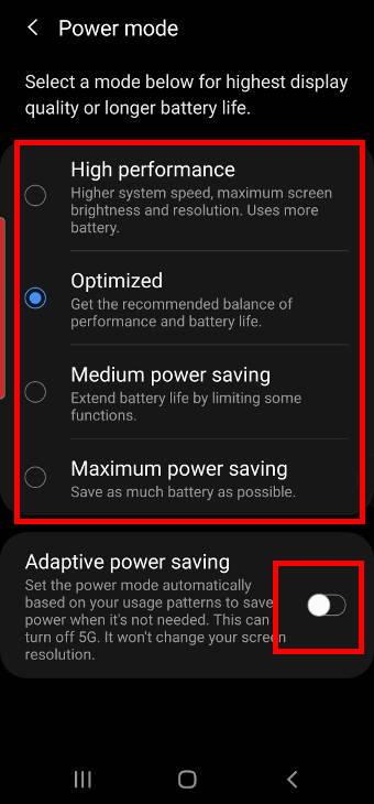 4 power modes on Samsung Galaxy S20