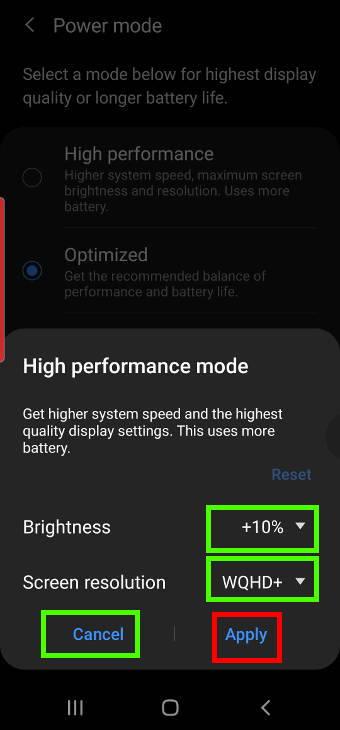 change power mode on Galaxy S20