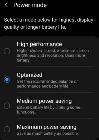 use and customize power mode on Galaxy S20