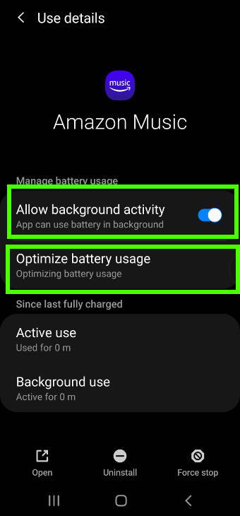 customize battery usage for Amazon Music