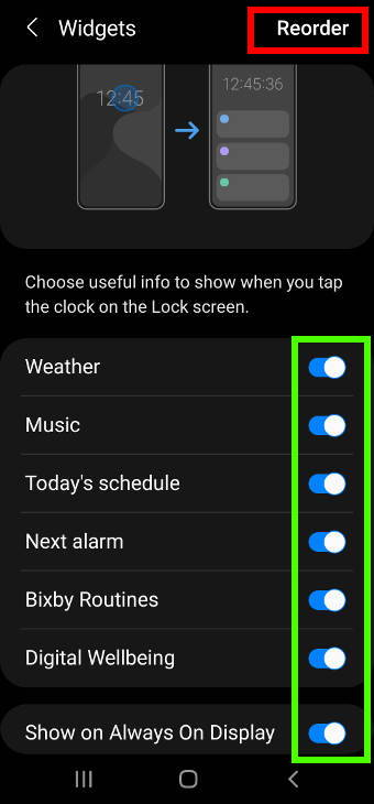use and customize widgets on Galaxy S20 lock screen