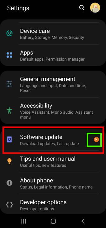 Galaxy S20 settings: software update
