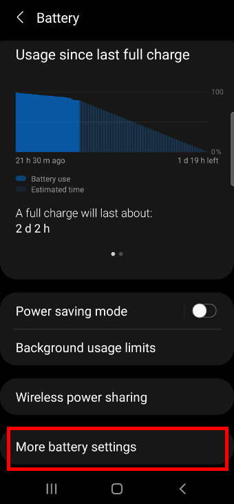 charge galaxy S21 battery: battery settings