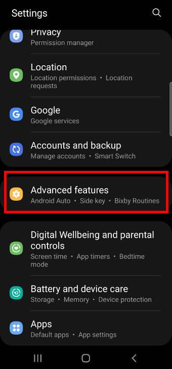 Galaxy S21 settings