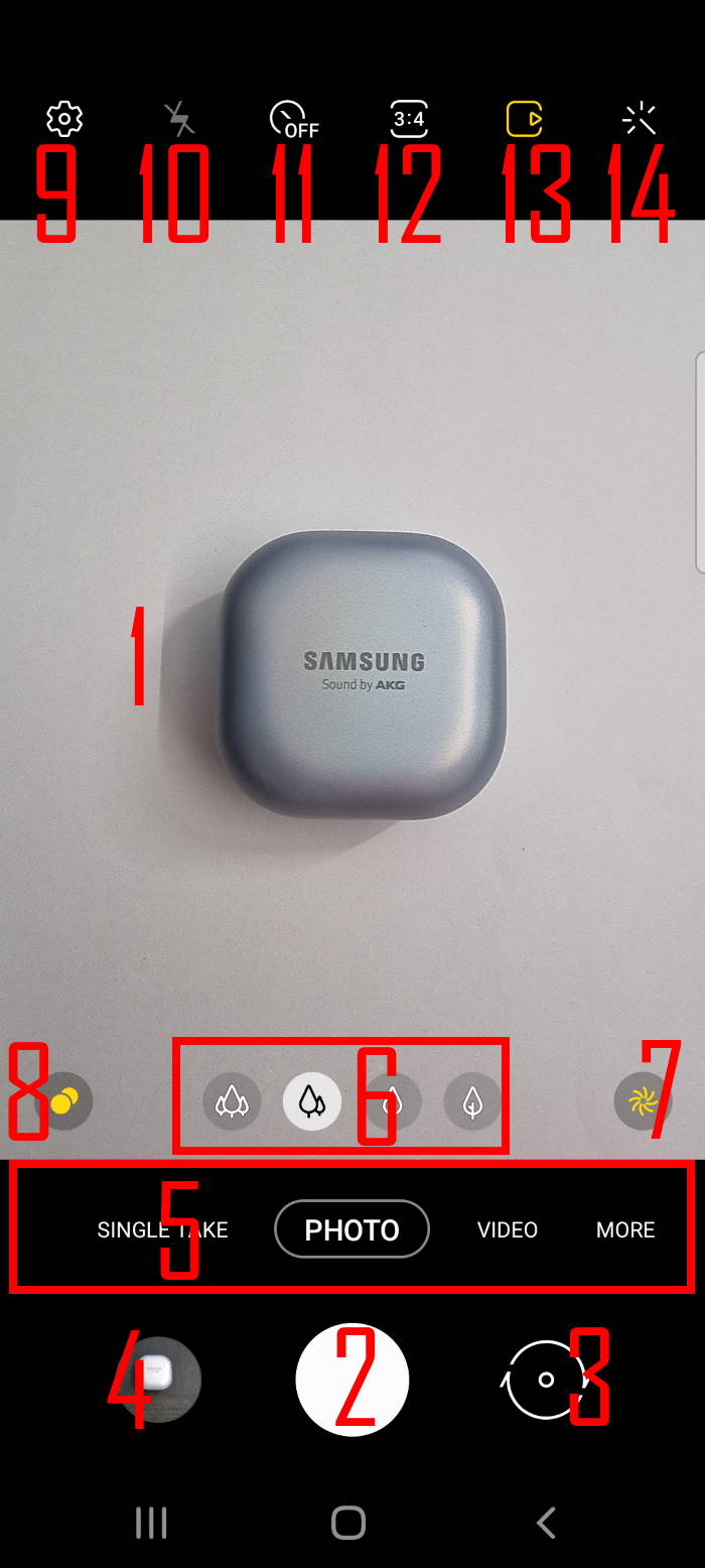 layout and contents of the Galaxy S21 Camera app