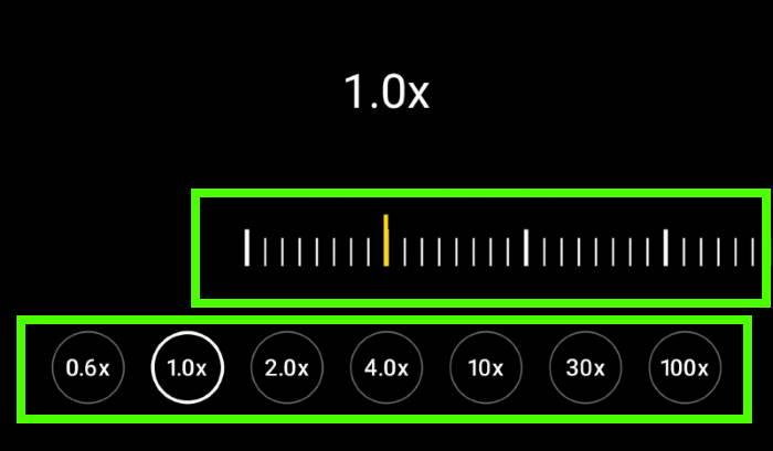 Galaxy S21 camera app: Zoom and camera lens selection