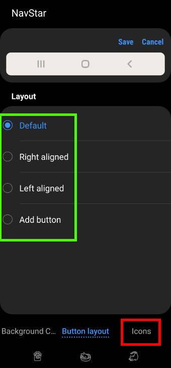 customize Galaxy S21 navigation buttons and navigation bar with NavStar: create own navigation buttons