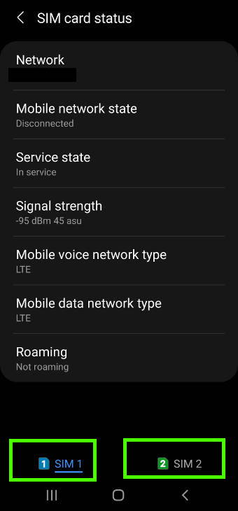 check SIM card status on Galaxy S21