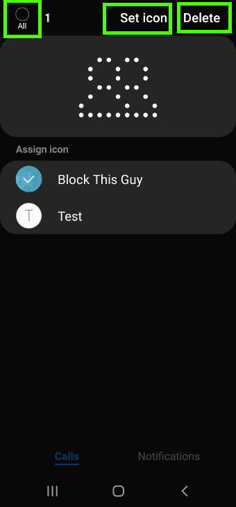 Manage contacts and apps for LED icons in LED icon editor